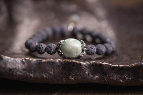 Amazonite Nugget Lava Stretch Bracelet