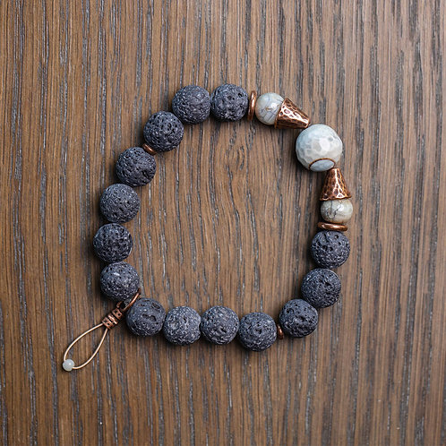 Lava + Agate Stretch Bracelet
