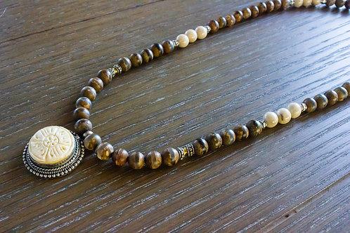 Tibetan Dzi Agate + Fossil Stone Necklace