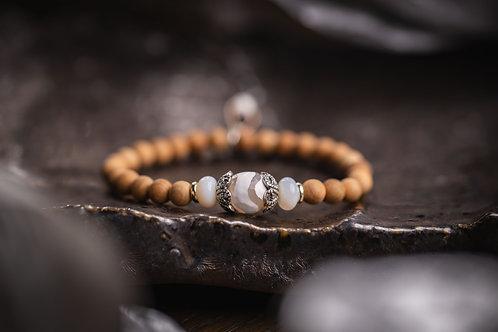 Dzi Agate & Opal Stretch Bracelet