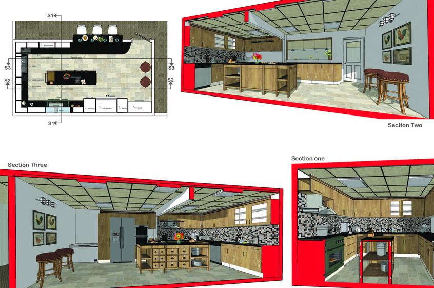 Senior citizen center kitchen- Sections 3D