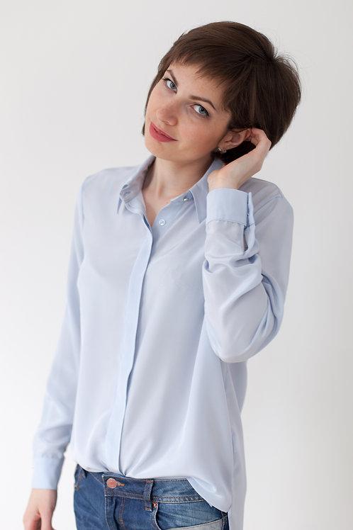 Женская рубашка серо-голубая