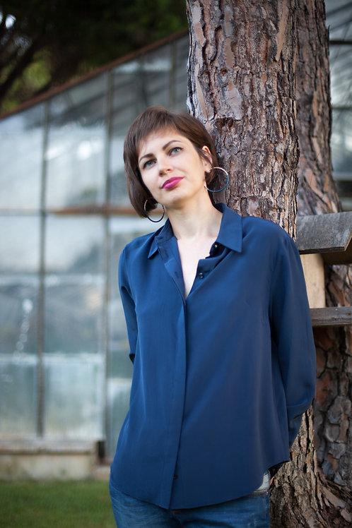 Женская рубашка темно-синяя