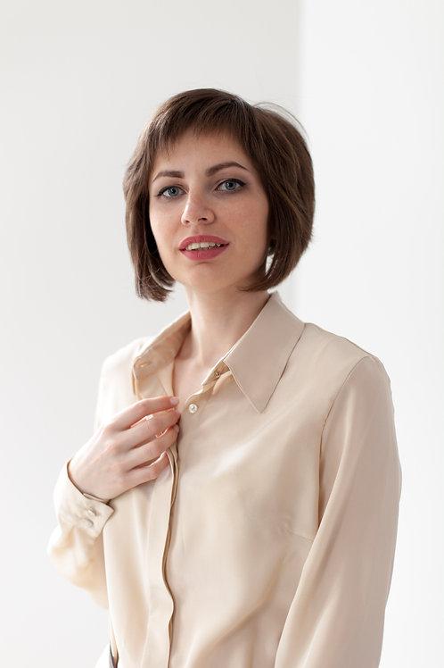 Женская рубашка бежевая