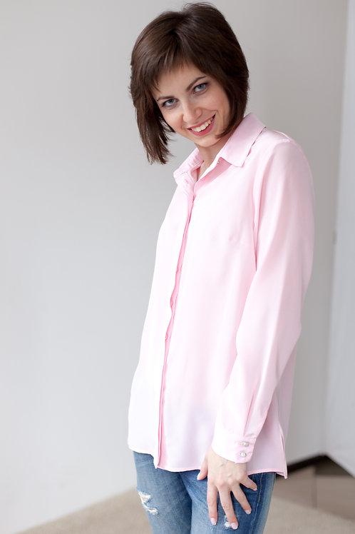 Женская рубашка светло-розовая