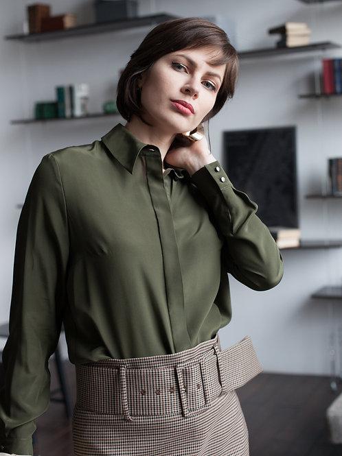 Женская рубашка оливковая