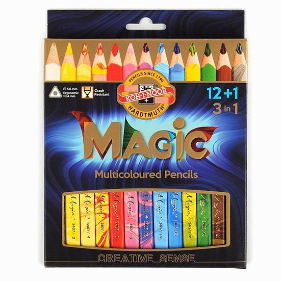 Jumbo Üçgen Renkli Sihirli Kalem Seti 12+1