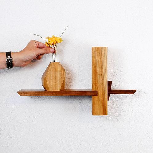 Koji Wall Shelf-Elm with Walnut shelf and key