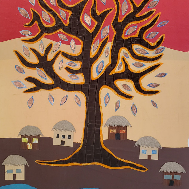 Brown Tree with Village