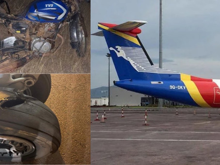 During Landing, A Congo Airways Dash-Q400 Struck A Motorcyclist Who Was Crossing The Runway