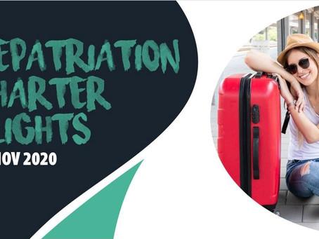 Repatriation flights to Kuala Lumpur, Jakarta, Dhaka, and Kathmandu on the 29th November
