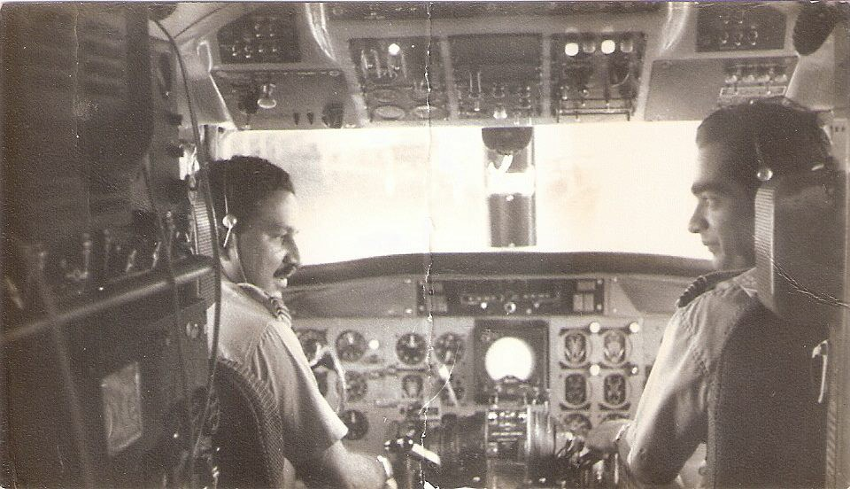 Ronnie Pereira and Noel Lokuge inside the CV440 cockpit