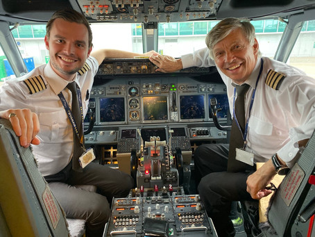 Father joined by his son for his last flight as an Airline Captain