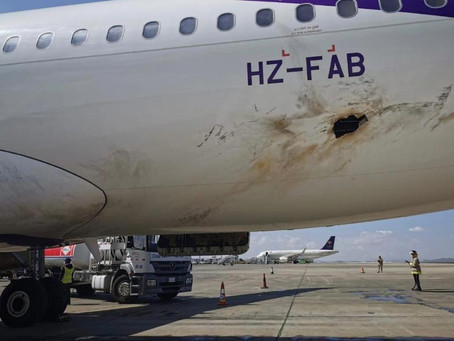 Civilian Airplane catches fire after drone attack in Abha Airport