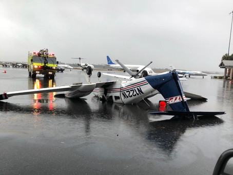 Airplane flipped upside down as Tornado Hits Tallahassee, USA