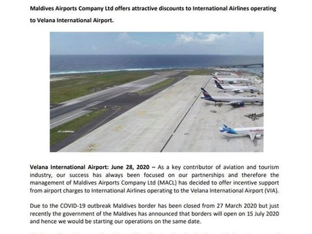 MACL offers discount for international airline flying to Maldives