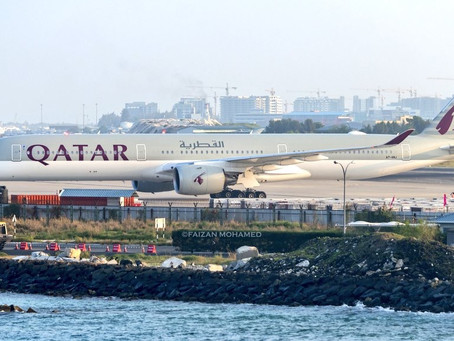 Qatar Airways operates the Airbus A350-1000 to Velana International Airport