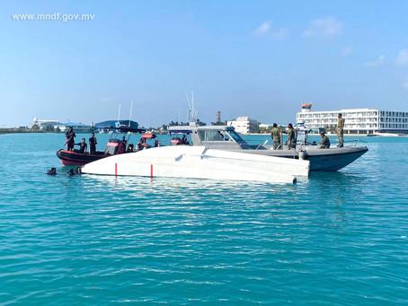 A Manta Air seaplane crash landed this morning at Velana International Airport