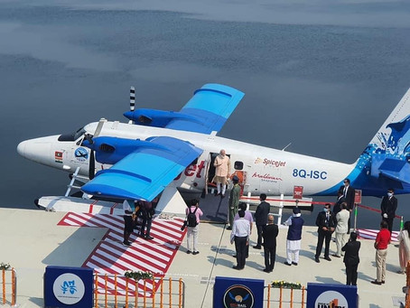 Indian Prime Minister Narendra Modi inaugurates India's first seaplane service.