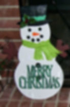 """Large snowman with green hand cut """"Merry Christmas"""" and material scarf"""