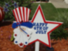 FJ09-Uncle Sam Happy 4th Star in red trim with sparkling  stars on hat.