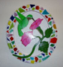 Oval Mosaic Humming Bird Pink
