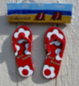 Welcome Kick Back And Relax Hanging  Sign with red Flip-Flops