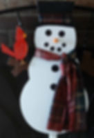 Large snowmen with Cardinal and warm scarf