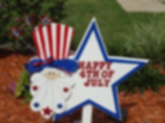 FJ06-Uncle Sam Happy 4th Star in blue trim with sparkling  stars on hat.