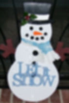 """Large snowman with blue hand cut """"Let It Snow"""" and material scarf"""