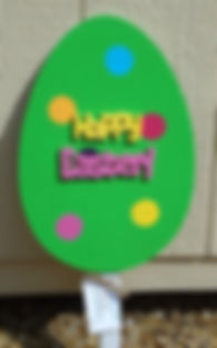E14- Large Egg Green with hand cut Happy Easter.