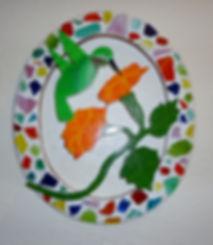 Oval Mosaic Humming Bird Orange