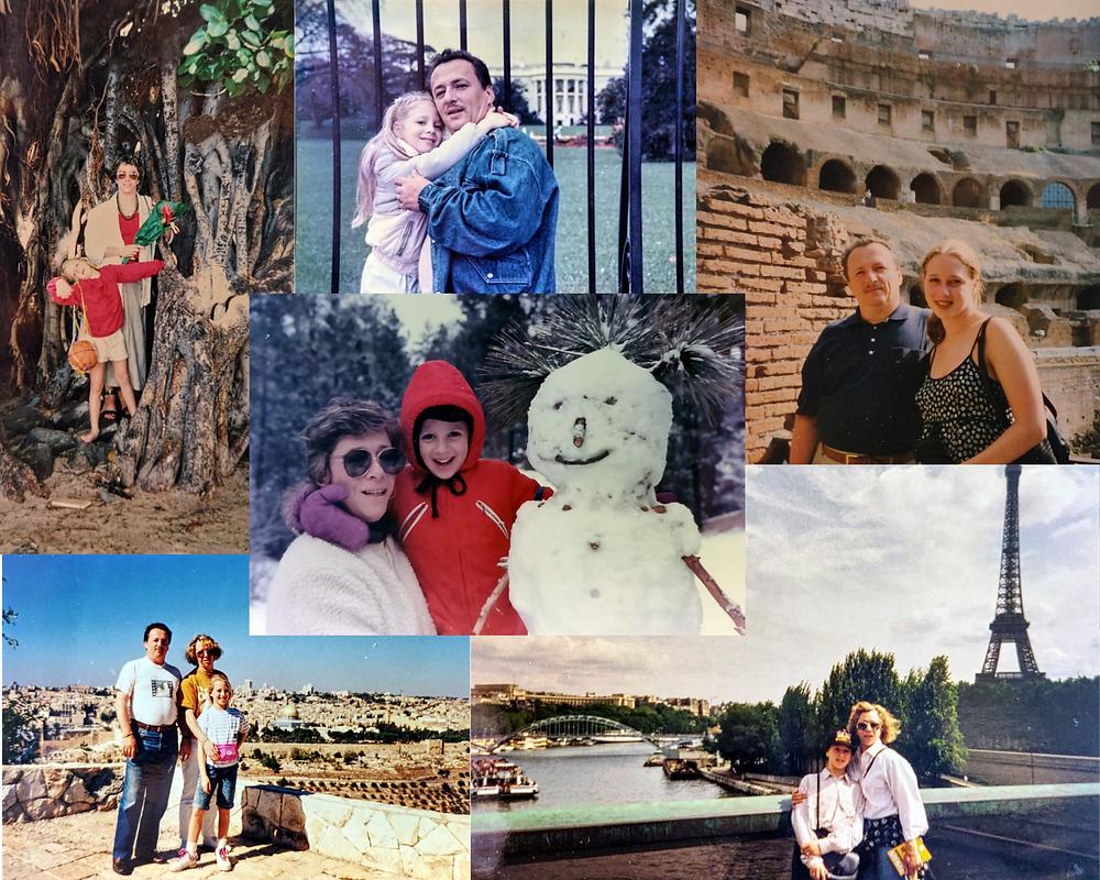 A collage of photos highlighting some of the adventures my parents took me on - Hawaii, Washington D.C., Rome, Paris, Big Bear, Jerusalem.