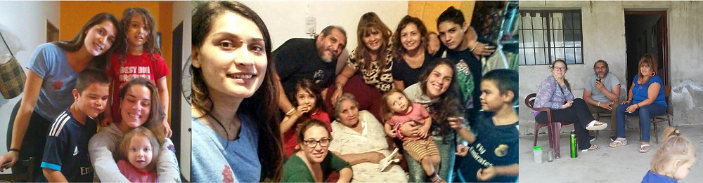 Some much love - so much family. Three pictures of Leila and Dante with family. On the left, Dante and Leila with his cousin and aunts, in the middle we're with cousins, aunts, great aunts, and Baba Belinda, on the right visiting family in Tucuman, drinking mate on the front porch.