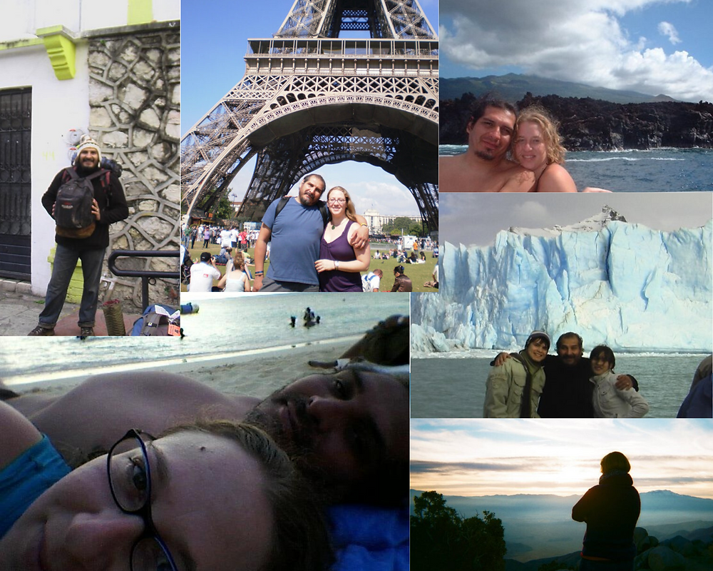 A collage of just a few of our travels before having children - Chiapas, México, Paris, France, Hawaii, Montego Bay, Jamaica, Joshua Tree, California, Calafate, Argentina.