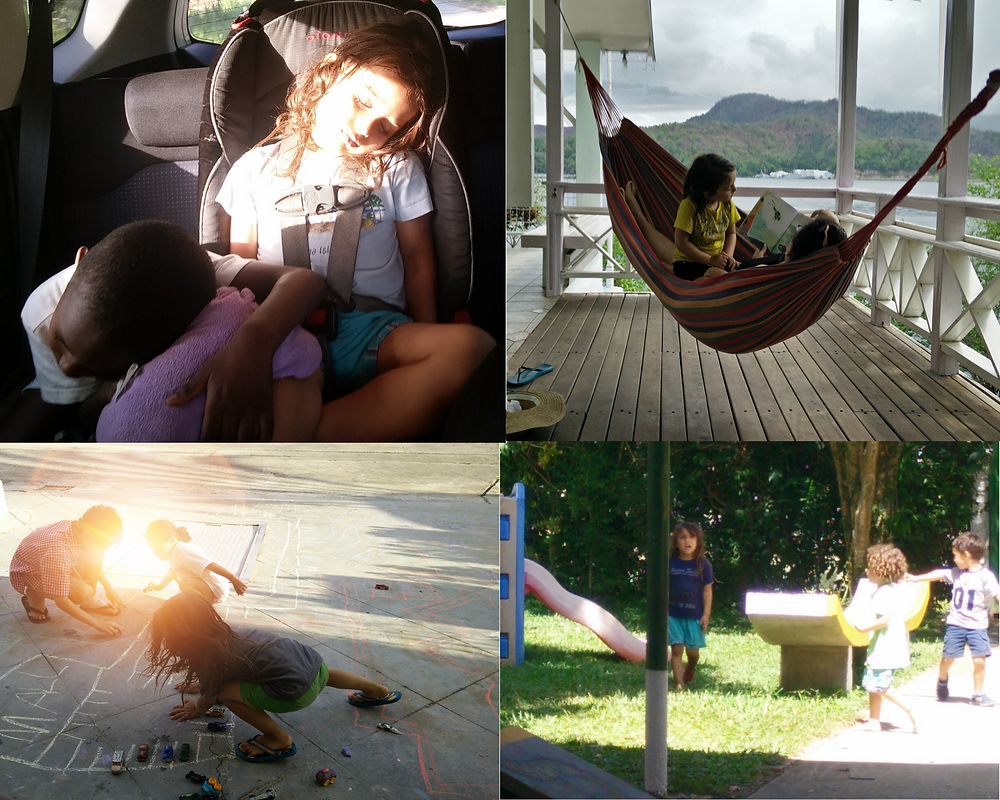 """Dante with his closest friends in Trinidad. Sleeping with Tiago on a long road trip, getting a book read to him in a hammock on a """"Down the Islands"""" trip, drawing with chalk in our shared front driveway with Sabrina and Liam, and playing at the incredible Giving Tree Montessori with his friends."""