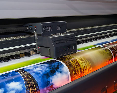 Large format printing machine in operati