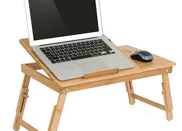 Ergonomics Adjustable Laptop Desk With USB Cooling Fan for Lap Table Bamboo