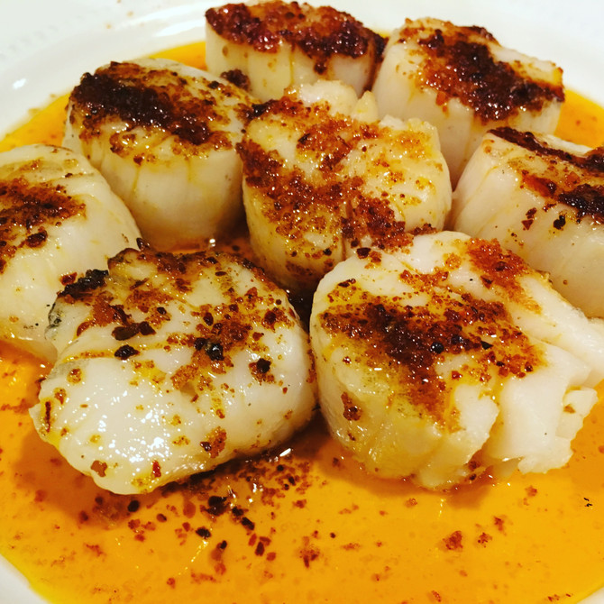 Scallops with Sweet Inferno