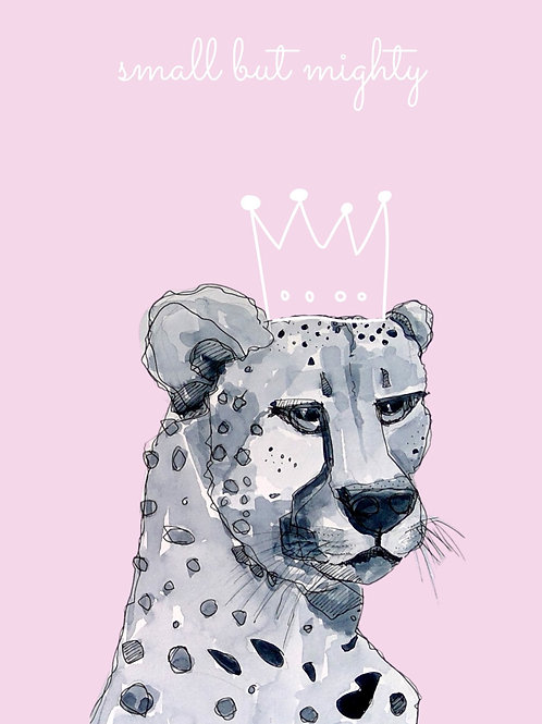 'Small But Mighty' Little Cheetah (baby pink) Art Print