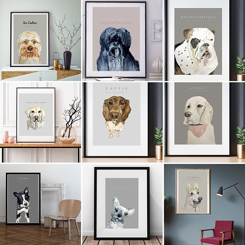 Animal Portrait - Personalised Print, One dog