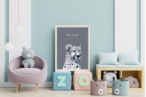 Little Cheetah Art Print (anthracite)
