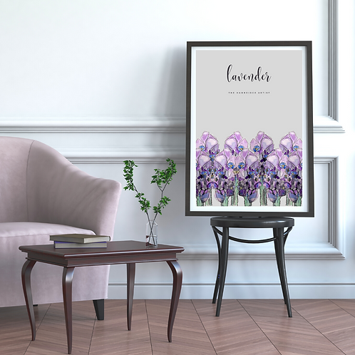 Grey Lavender Floral Art Print