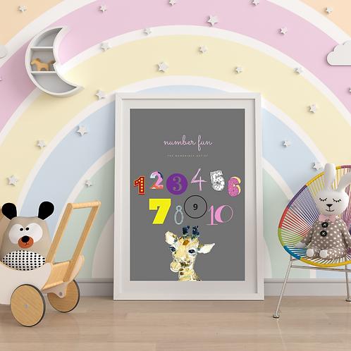 Little Giraffe Number Fun Art Print