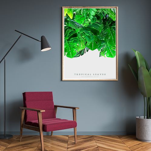 Tropical Leaves on Stone Botanical Art Print