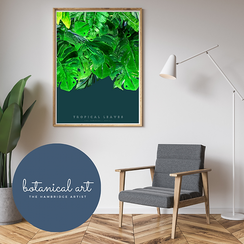 Tropical Leaves on Petrol Botanical Art Print