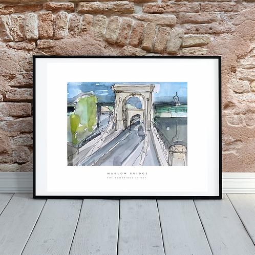 Marlow Bridge (watercolour & ink)