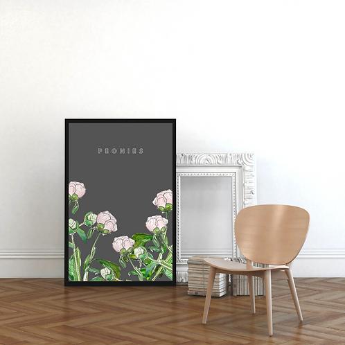 Peonies on Dark Grey Botanical Art Print