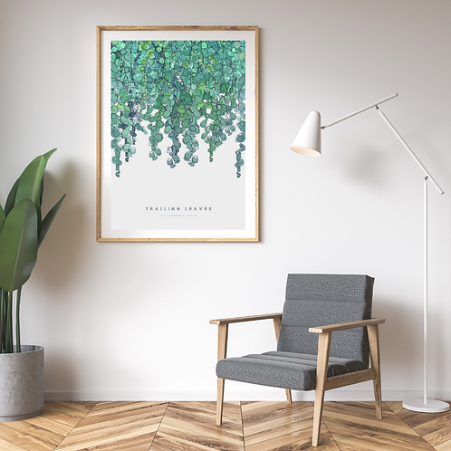 NEW Trailing Leaves (2021) on White Linen Botanical Art Print