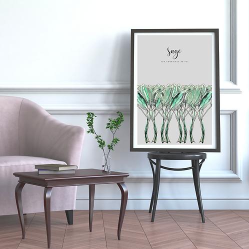 Grey Sage Herb Art Print
